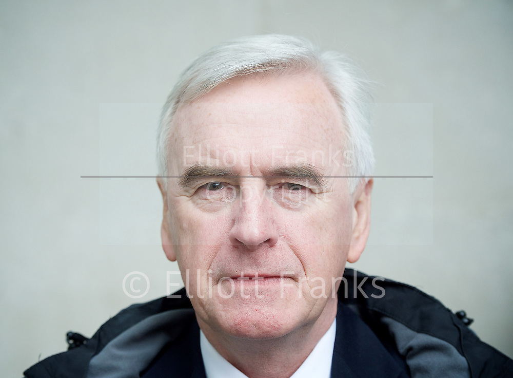Andrew Marr Show <br /> departures<br /> BBC, Broadcasting House, london, Great Britain <br /> 5th March 2017 <br /> <br /> <br /> John McDonnell MP<br /> Shadow Chancellor  <br /> <br /> Photograph by Elliott Franks <br /> Image licensed to Elliott Franks Photography Services