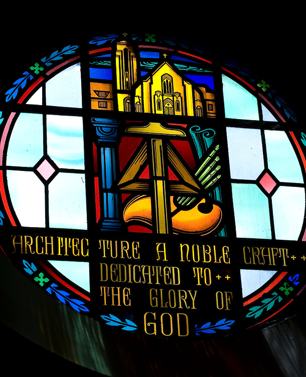 "A stained glass window that honors church architecture. ""Architecture: A Noble Craft Dedicated to the Glory of God."" (Sam Lucero photo)"