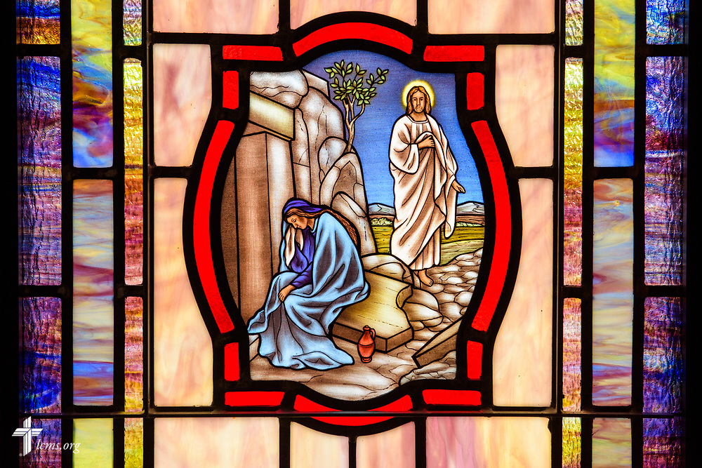 Stained glass depicting the resurrection of Jesus Christ (John 20:11) and weeping Mary Magdalene outside the tomb, at St. John's Lutheran Church, Conover, N.C, on Friday, April 21, 2017. LCMS Communications/Erik M. Lunsford