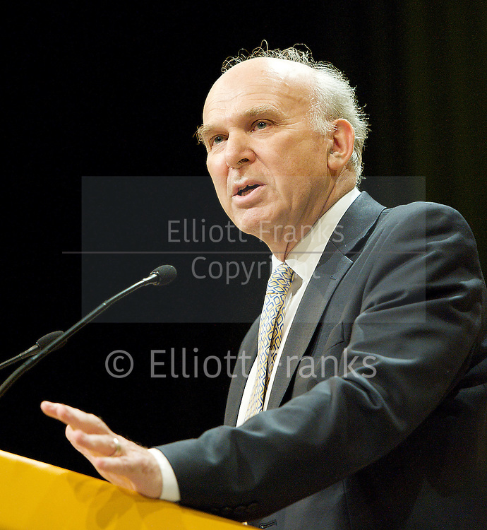 The Liberal Democrats Annual Autumn Conference 2012 at The Brighton Centre, Brighton, East Sussex, Great Britain <br /> 22nd to 26th September 2012 <br /> Vince Cable<br /> Secretary of State for Business, Innovation and Skills <br /> and MP for Twickenham<br /> Photograph by Elliott Franks