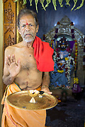 THIMMAMMA MARRIMANU, INDIA - 25th October 2019 - Portrait of holy priest at Thimmamma temple in Andhra Pradesh, South India. Thimmamma Marrimanu is home to the world's largest single tree canopy.