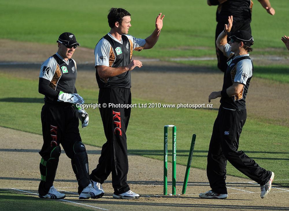 James Franklin celebrates bowling Aftab Ahmed.<br />Cricket, KFC Twenty20 Match.<br />New Zealand Black Caps versus Bangladesh.<br />Seddon Park, Hamilton, New Zealand.<br />Tuesday 3 February 2010.<br />Photo: Andrew Cornaga/PHOTOSPORT