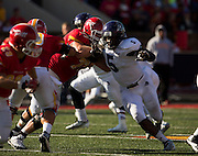 Nick Richardson (5) of the Abilene Christian Wildcats attempts to get past the offensive line during Saturday's college football game against the Pittsburg State Gorillas at Carnie Smith Stadium on October 5, 2013 in Pittsburg, Kansas. (David Welker)