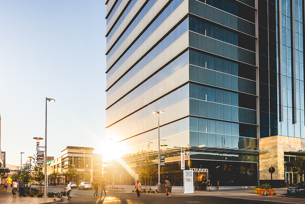 Down Town Summerlin's One Summerlin at sunset. Photographed for Howard Hughes Corporation.