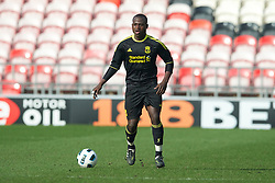 BLACKPOOL, ENGLAND - Wednesday, March 3, 2011: Liverpool's Emmanuel Gomis Mendy in action against Blackpool during the FA Premiership Reserves League (Northern Division) match at Bloomfield Road. (Photo by David Rawcliffe/Propaganda)