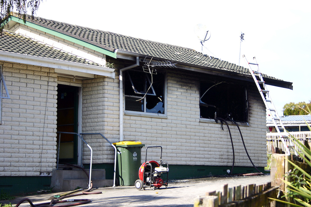 Two girls, 5 and 9 year olds, home alone were safely rescued from a bedroom fire at Clover Park, Auckland, New Zealand, Wednesday, August 12, 2015. Credit:SNPA / Grahame Clark