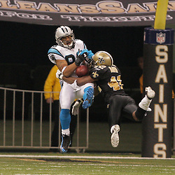 2008 December, 28: Carolina Panthers wide receiver Steve Smith (89) catches a deep pass over New Orleans Saints cornerback Jason David (42) during a week 17 game between NFC South divisional rivals the Carolina Panthers and the New Orleans Saints at the Louisiana Superdome in New Orleans, LA.