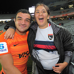 Agustin Creevy poses with a happy fan after the Super Rugby match between the Blues and Jaguares at Eden Park in Auckland, New Zealand on Friday, 28 April 2018. Photo: Dave Lintott / lintottphoto.co.nz