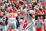 Sept. 19, 2010; Cleveland, OH, USA; Kansas City Chiefs quarterback Matt Cassel (7) during the first quarter against the Cleveland Browns at Cleveland Browns Stadium. Mandatory Credit: Jason Miller-US PRESSWIRE