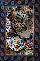 Shalom and other decorative plates, Arab souk of old Jersusalem, Israel.