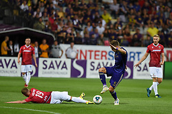 Blaž Vrhovec of Maribor and Lasse Petry of Valur during 2nd Leg Football match between NK Maribor (SLO) and Valur Reykjavík (ISL) in First qualifying round of UEFA Champions League 2019/20, on July 17, 2019, in Stadium Ljudski vrt, Maribor, Slovenia. Photo by Milos Vujinovic / Sportida