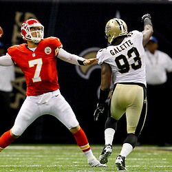 September 23, 2012; New Orleans, LA, USA; Kansas City Chiefs quarterback Matt Cassel (7) throws as New Orleans Saints defensive end Junior Galette (93) pressures during the second half of a game at the Mercedes-Benz Superdome. The Chiefs defeated the Saints 27-24 in overtime. Mandatory Credit: Derick E. Hingle-US PRESSWIRE