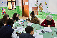 PARTANNA, ITALY - 9 DECEMBER 2014: 7 local Sicilian students together with sub-Saharan African asylum seekers attend a course for linguistic, social and cultural mediators organized by the Italian Ministries of Work and Economy,  in Partanna, Italy, on December 9th 2014.<br /> <br /> The 4 asylum seekers are hosted at a CAS (Special Accommodation Center) in Salemi, Sicily, where a total of 77 migrants live.