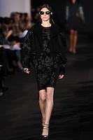 Jacquelyn Jablonski walks down runway for F2012 Prabal Gurung's collection in Mercedes Benz fashion week in New York on Feb 10, 2012 NYC