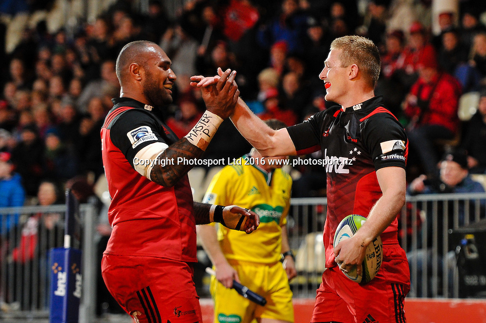 Nemani Nadolo of the Crusaders celebrates Johnny McNicholl of the Crusaders try during the Super Rugby Match, Crusaders V Rebels, AMI Stadium, Christchurch, New Zealand. 9th July 2016. Copyright Photo: John Davidson / www.photosport.nz