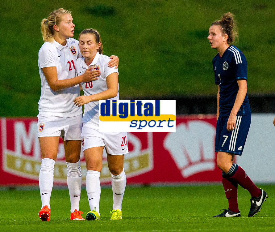 17/09/15 VAUXHALL WOMEN'S INTERNATIONAL CHALLENGE MATCH<br /> SCOTLAND v NORWAY<br /> FIRHILL - GLASGOW<br /> Norway's Emilie Bosshard Haavi (2nd from left) celebrates her goal with her team-mates