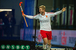 England's Ashley Jackson celebrates scoring England's fourth goal. England v Spain - Unibet EuroHockey Championships, Lee Valley Hockey & Tennis Centre, London, UK on 25 August 2015. Photo: Simon Parker
