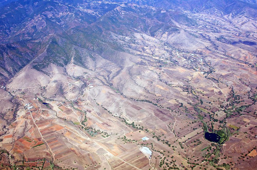 Aerial view of farmland in the valley outside Oaxaca de Juarez, Mexico.