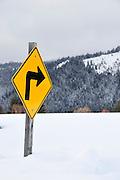 USA, Idaho, Valley County, Tamarack Resort, Right Turn Traffic Sign