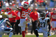 Kansas City Chiefs wide receiver Dexter McCluster (22) celebrates after a play during the Chiefs 28-2 win over the Jacksonville Jaguars at EverBank Field on Sept. 8, 2013 in Jacksonville, Florida. The <br /> <br /> ©2013 Scott A. Miller