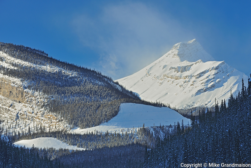The Canadian Rocky Mountains along the Icefields Parkway at The Big Bend, Banff National Park, Alberta, Canada