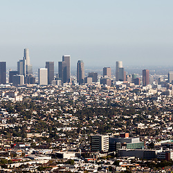 Photo of Los Angeles skyline skyscrapers, office buildings, and aprtment buildings in Southern California in the United States.