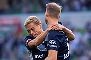 MELBOURNE, AUSTRALIA - APRIL 14: Keisuke Honda (4) of the Victory reacts after Ola Toivonen (11) of the Victory scores the opening goal during round 25 of the Hyundai A-League match between Melbourne Victory and Central Coast Mariners on April 14, 2019 at AAMI Park in Melbourne, Australia. (Photo by Speed Media/Icon Sportswire)