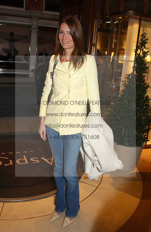 PLUM SYKES at a party to celebrate the publication of 'Last Voyage of The Valentina' by Santa Montefiore at Asprey, 169 New Bond Street, London W1 on 12th April 2005.<br />
