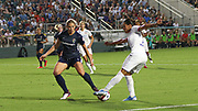 North Carolina Courage midfielder Samantha Mewis (5) looks to tackle Olympique Lyonnais midfielder Amel Majri (7) during an International Champions Cup women's soccer game, Sunday, Aug. 18, 2019, in Cary, Olympique Lyonnais bested the North Carolina Courage 1-0 in the finals.  (Brian Villanueva/Image of Sport)