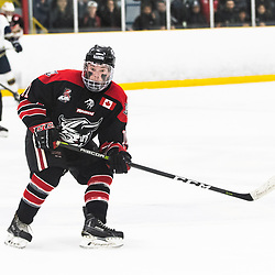 TORONTO, ON - APR 10, 2018: Ontario Junior Hockey League, South West Conference Championship Series. Game seven of the best of seven series between the Georgetown Raiders and the Toronto Patriots, Bailey Molella #11 of the Georgetown Raiders follows the play during the third period.<br /> (Photo by Kevin Raposo / OJHL Images)