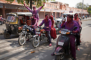 Celebrating Holi in the streets of Jaipur, Rajasthan, India
