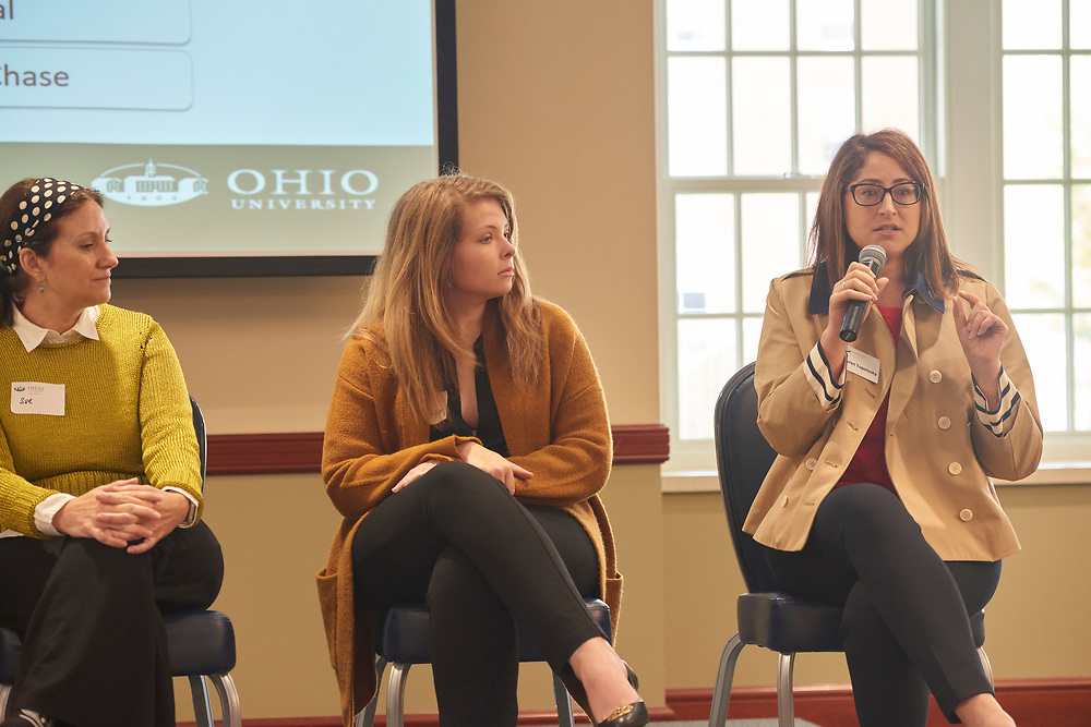 Lauren Topolosky of JP Morgan Chase answers a student question as part of the Q&A panel.
