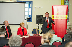 Pictured: Andrew Burns, Joan Griffiths, Chair of Scottish labour Group; Alex Rowley<br /> Scottish Labour deputy leader Alex Rowley was joined by Edinburgh City Council leader Andrew Burns at the Serenity Cafe in Edinburgh today to launch the party's local government election manifesto. <br /> Ger Harley | EEm 21 March 2017