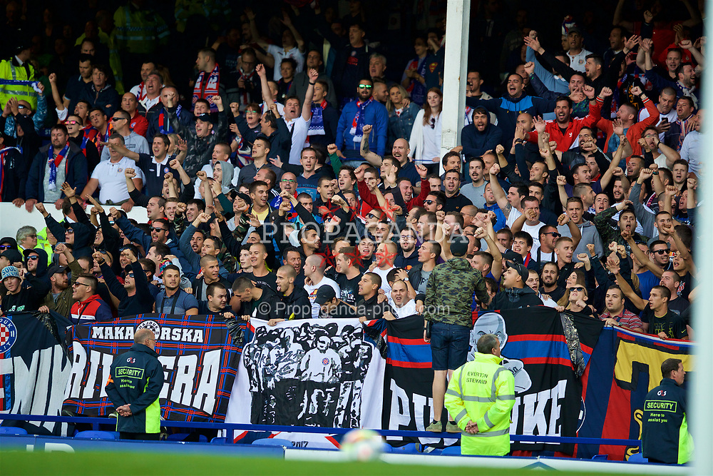LIVERPOOL, ENGLAND - Thursday, August 17, 2017: HNK Hajduk Split supporters during the UEFA Europa League Play-Off 1st Leg match against Everton at Goodison Park. (Pic by David Rawcliffe/Propaganda)