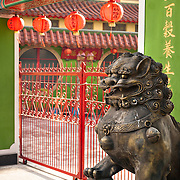 Chinese style Lions protect the entrance of a Catholic church in Yanshui Village, Tainan County, Taiwan