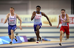 Great Britain's Ojie Edoburun (centre) during the Men's 60m semi final during day two of the European Indoor Athletics Championships at the Emirates Arena, Glasgow.