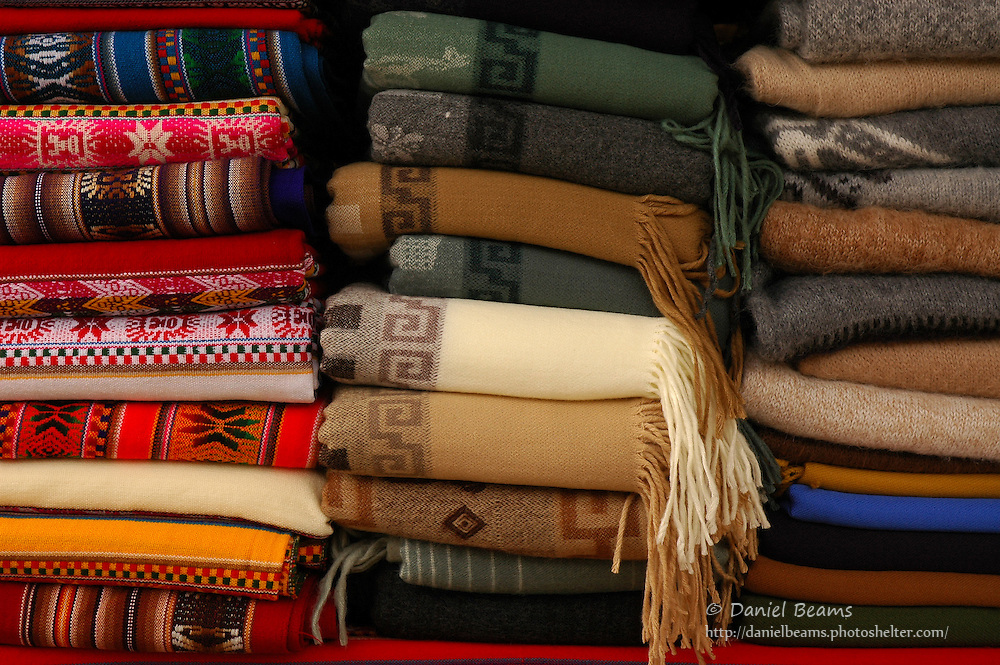 Blanket and shawls for sale, Tihuanacu, La Paz, Bolivia