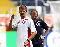 Photo: Chris Ratcliffe.<br /> England training session. FIFA World Cup 2006. 09/06/2006.<br /> David Beckham and Steve McClaren in training before the game tomorrow.