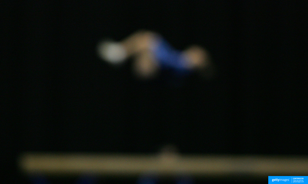 Abstract Impressions of Sport.Gymnastics, beam exercise.