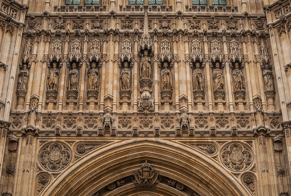 A detailed closeup view of the details above the main entrance to the Victoria Tower on Westminster Palace, London, England, United Kingdom.