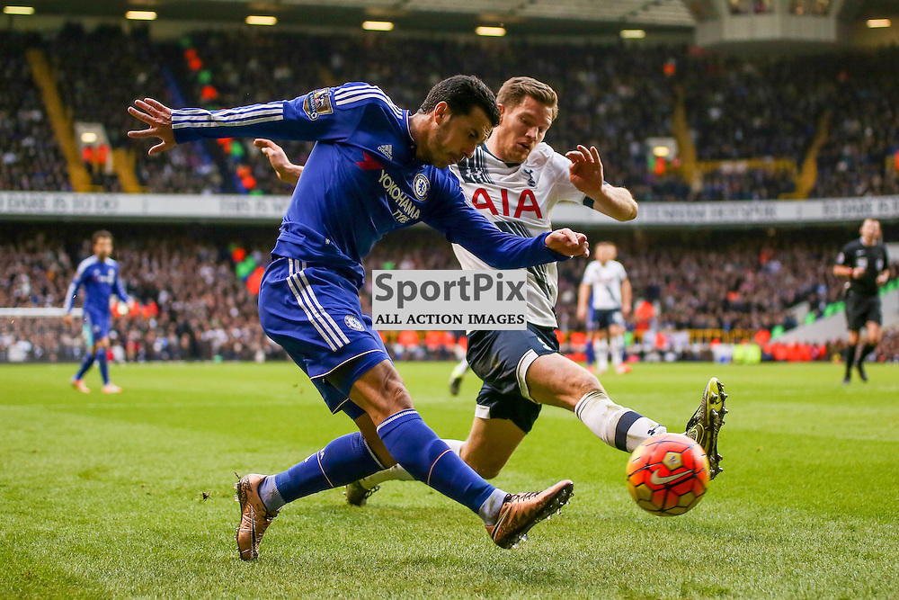 Pedro takes on  Jan Vertonghen During Tottenham Hotspur vs Chelsea on Sunday the 29th November 2015.