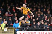 Newport County forward Aaron Collins scores for Newport County  during the Sky Bet League 2 match between York City and Newport County at Bootham Crescent, York, England on 16 January 2016. Photo by Simon Davies.
