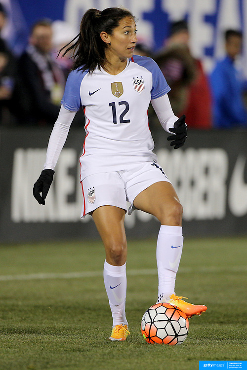 Christen Press, USA, in action during the USA Vs Colombia, Women's International friendly football match at the Pratt & Whitney Stadium, East Hartford, Connecticut, USA. 6th April 2016. Photo Tim Clayton