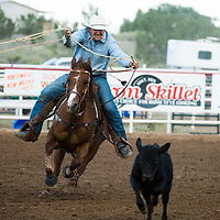 Tomm Owens competes at the National Senior Pro Rodeo Association in Grants on Wednesday.