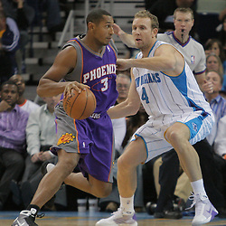 03 December 2008:  Phoenix Suns forward Boris Diaw (3) is defended by New Orleans Hornets forward Sean Marks (4) during a 104-91 victory by the New Orleans Hornets over the Phoenix Suns at the New Orleans Arena in New Orleans, LA..