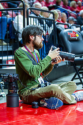 NORMAL, IL - December 18: Lewis Marian shoots from a bit of popcorn lost by a fan during a college basketball game between the ISU Redbirds and the UIC Flames on December 18 2019 at Redbird Arena in Normal, IL. (Photo by Alan Look)