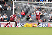 Milton Keynes Dons goalkeeper David Martin (1) makes an important save from the spot  during the EFL Sky Bet League 1 match between Milton Keynes Dons and Port Vale at stadium:mk, Milton Keynes, England on 9 October 2016. Photo by Dennis Goodwin.