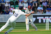 Somerset's Marcus Trescothick watches Yorkshire's Liam Plunkett field the ball during the Specsavers County Champ Div 1 match between Somerset County Cricket Club and Yorkshire County Cricket Club at the County Ground, Taunton, United Kingdom on 15 May 2016. Photo by Graham Hunt.