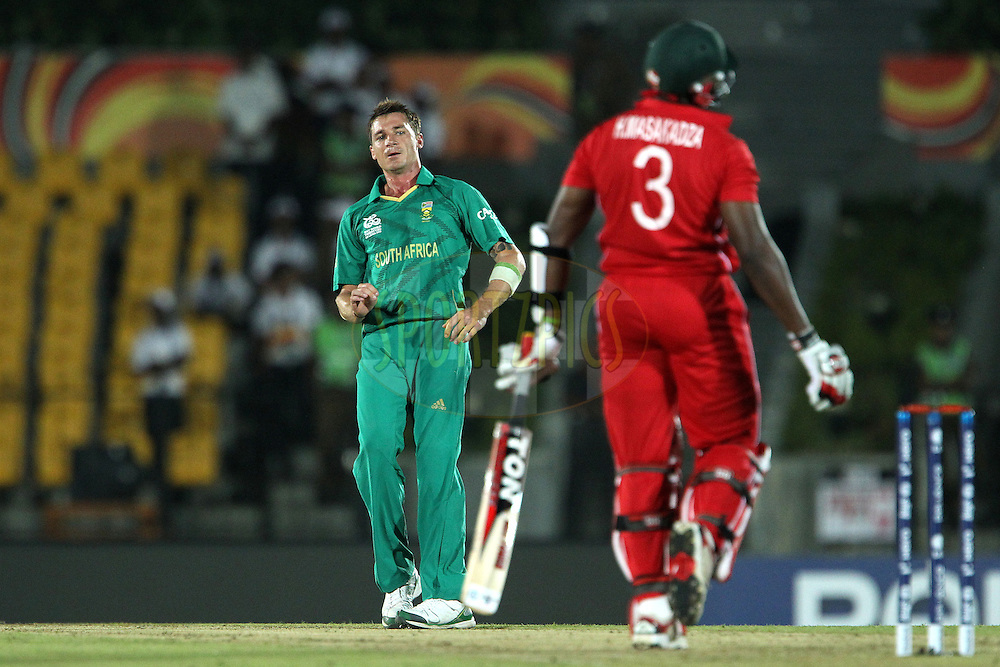 Dale Steyn reacts after bowling to Hamilton Masakadza during the ICC World Twenty20 Pool C match between South Africa and Zimbabwe held at the MAHINDA RAJAPAKSA INTERNATIONAL CRICKET STADIUM in Hambantota, Sri Lanka on the 20th September 2012..Photo by Ron Gaunt/SPORTZPICS