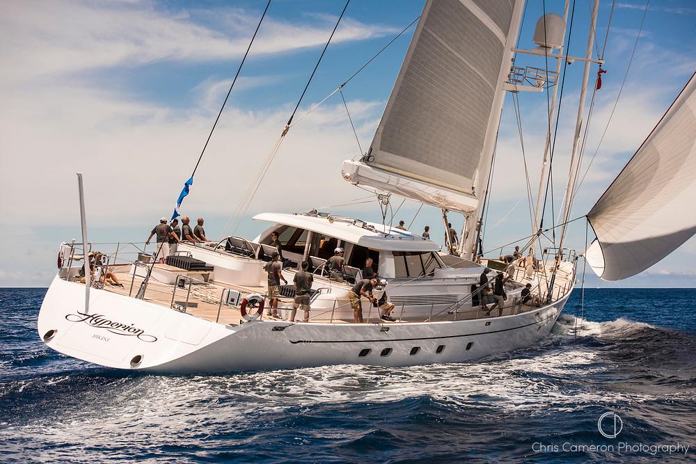 Bermuda, 13th June 2017. America's Cup Superyacht regatta. Race one. Hyperion